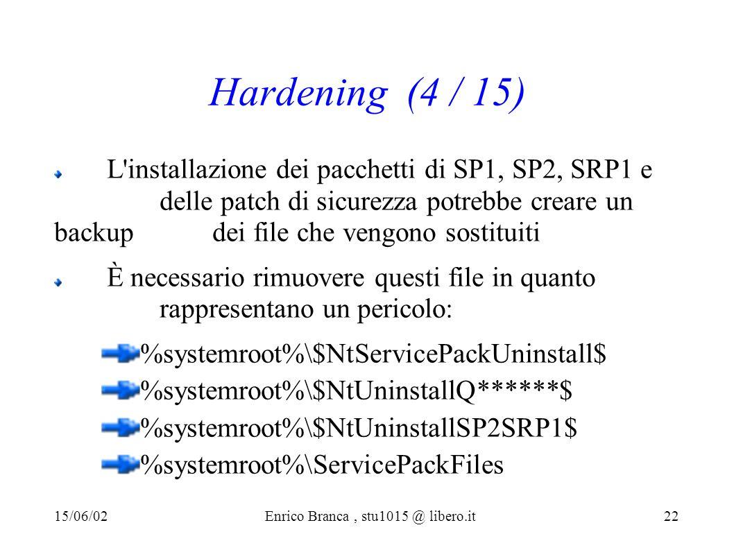 Hardening (4 / 15) L installazione dei pacchetti di SP1, SP2, SRP1 e delle patch di sicurezza potrebbe creare un backup dei file che vengono sostituiti È necessario rimuovere questi file in quanto rappresentano un pericolo: %systemroot%\$NtServicePackUninstall$ %systemroot%\$NtUninstallQ******$ %systemroot%\$NtUninstallSP2SRP1$ %systemroot%\ServicePackFiles 15/06/02Enrico Branca, stu1015 @ libero.it 22