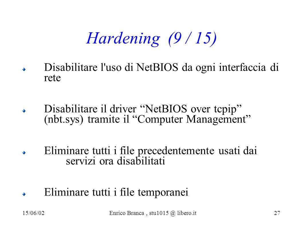 Hardening (9 / 15) Disabilitare l uso di NetBIOS da ogni interfaccia di rete Disabilitare il driver NetBIOS over tcpip (nbt.sys) tramite il Computer Management Eliminare tutti i file precedentemente usati dai servizi ora disabilitati Eliminare tutti i file temporanei 15/06/02Enrico Branca, stu1015 @ libero.it 27
