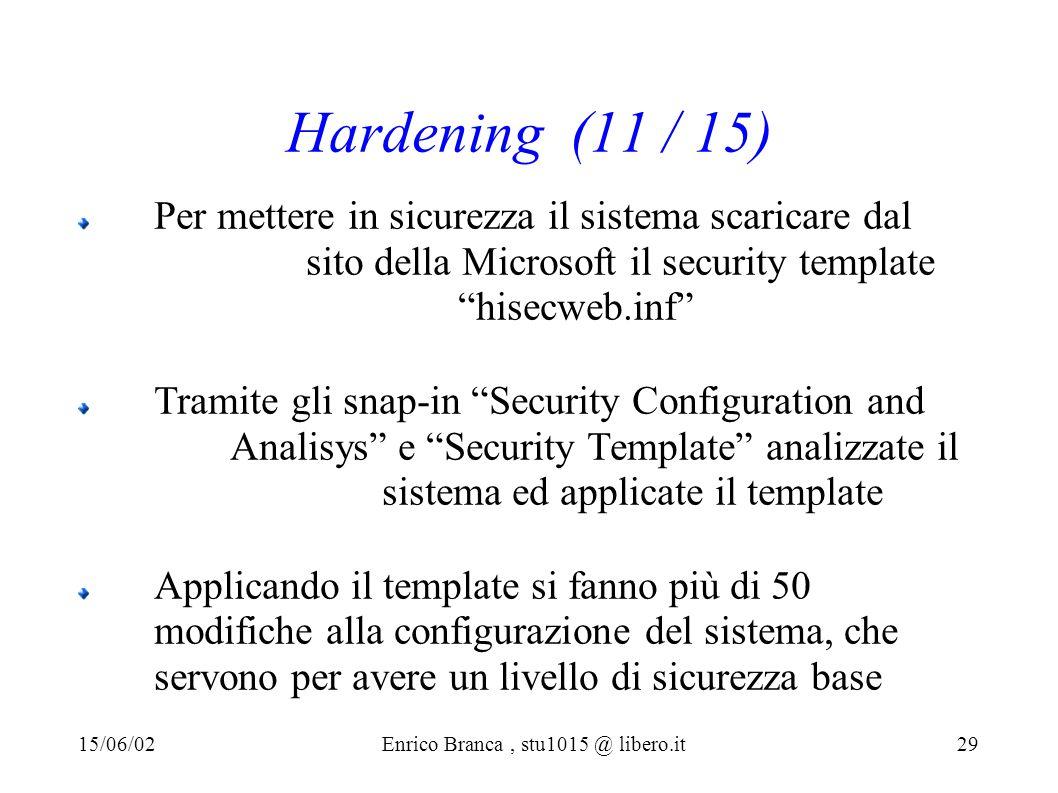 Hardening (11 / 15) Per mettere in sicurezza il sistema scaricare dal sito della Microsoft il security template hisecweb.inf Tramite gli snap-in Security Configuration and Analisys e Security Template analizzate il sistema ed applicate il template Applicando il template si fanno più di 50 modifiche alla configurazione del sistema, che servono per avere un livello di sicurezza base 15/06/02Enrico Branca, stu1015 @ libero.it 29