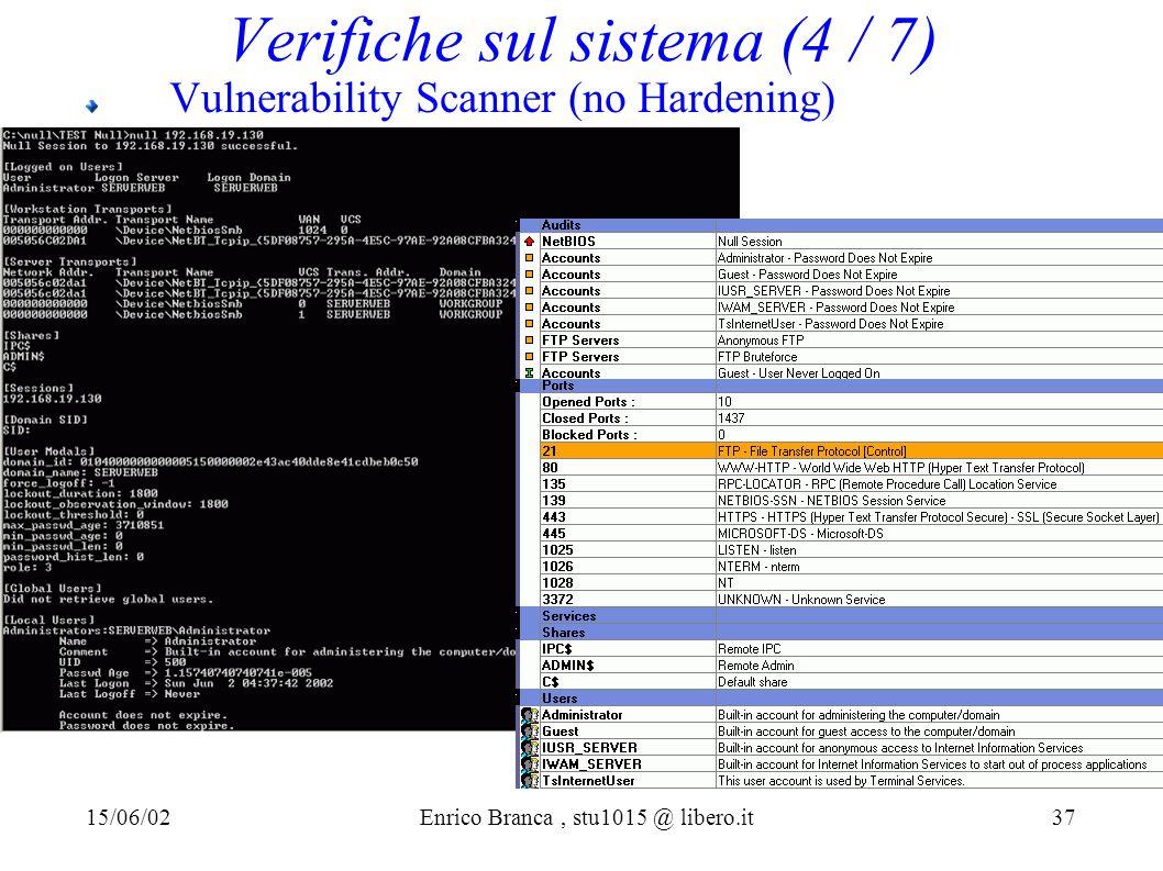Verifiche sul sistema (4 / 7) Vulnerability Scanner (no Hardening) 15/06/02Enrico Branca, stu1015 @ libero.it 37