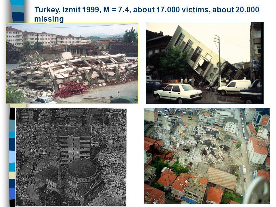 Kobe - Japan 1995, M = 7.2, 5500 victims 230.000 homeless 70 billions dollars damage