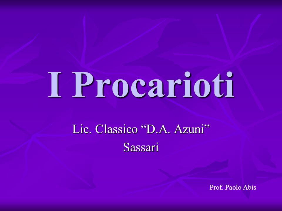 I Procarioti Lic. Classico D.A. Azuni Sassari Prof. Paolo Abis