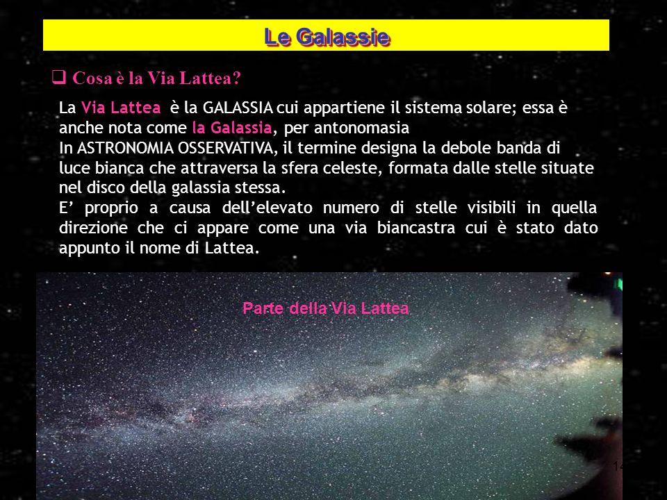 14 Cosa è la Via Lattea? La Via Lattea è la GALASSIA cui appartiene il sistema solare; essa è anche nota come la Galassia, per antonomasia In ASTRONOM