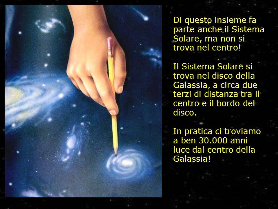 Di questo insieme fa parte anche il Sistema Solare, ma non si trova nel centro! Il Sistema Solare si trova nel disco della Galassia, a circa due terzi