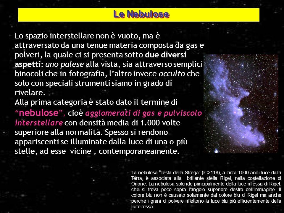 2 Lo spazio interstellare non è vuoto, ma è attraversato da una tenue materia composta da gas e polveri, la quale ci si presenta sotto due diversi asp