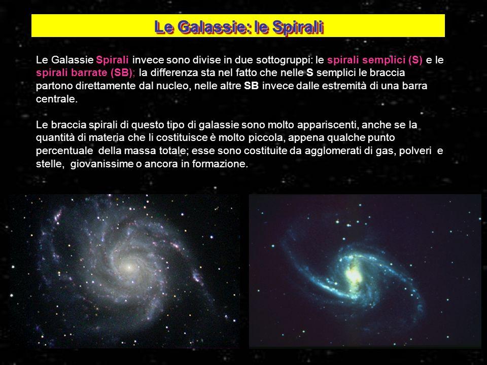 25 Le Galassie Spirali invece sono divise in due sottogruppi: le spirali semplici (S) e le spirali barrate (SB); la differenza sta nel fatto che nelle
