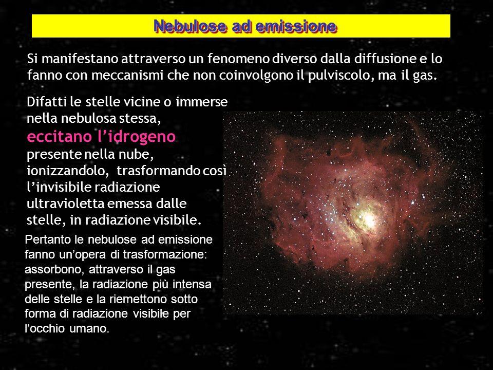 3 Si manifestano attraverso un fenomeno diverso dalla diffusione e lo fanno con meccanismi che non coinvolgono il pulviscolo, ma il gas. Nebulosa deno