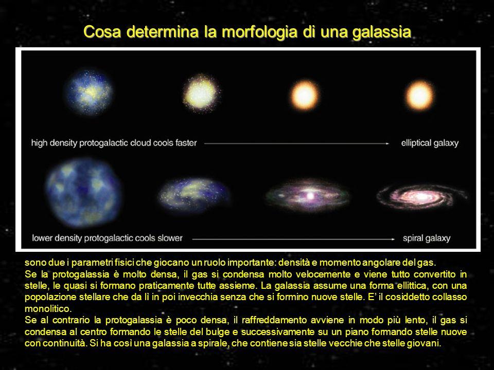34 Cosa determina la morfologia di una galassia sono due i parametri fisici che giocano un ruolo importante: densità e momento angolare del gas. Se la