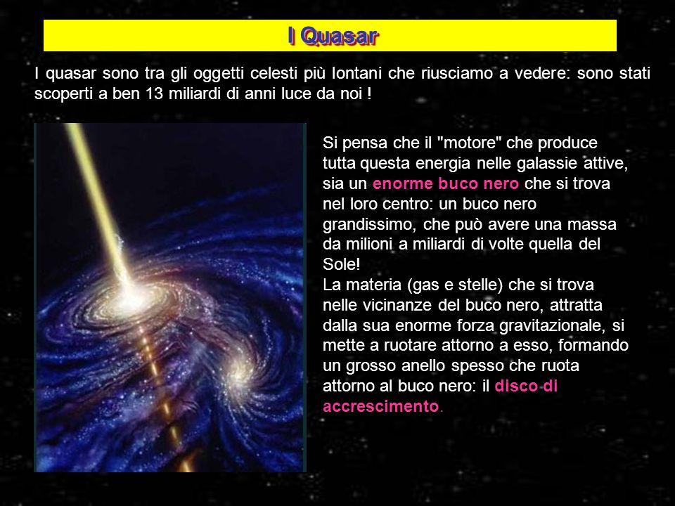 I Quasar I quasar sono tra gli oggetti celesti più lontani che riusciamo a vedere: sono stati scoperti a ben 13 miliardi di anni luce da noi ! Si pens
