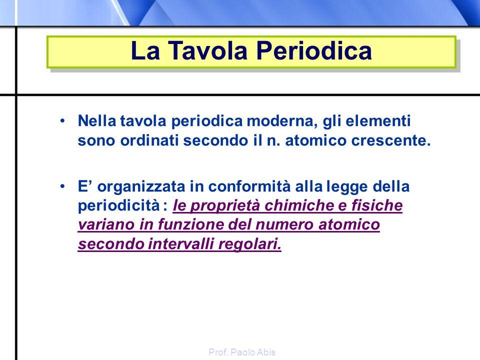 Prof. Paolo Abis Nella tavola periodica moderna, gli elementi sono ordinati secondo il n. atomico crescente. E organizzata in conformità alla legge de