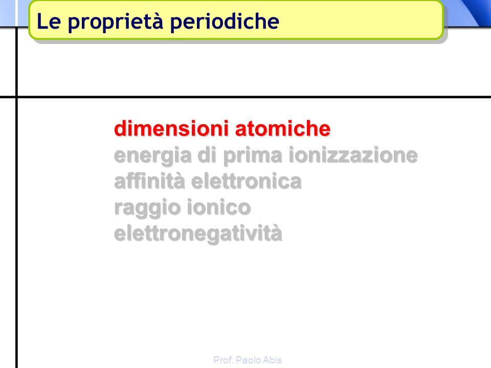 Prof. Paolo Abis dimensioni atomiche energia di prima ionizzazione affinità elettronica raggio ionico elettronegatività Le proprietà periodiche