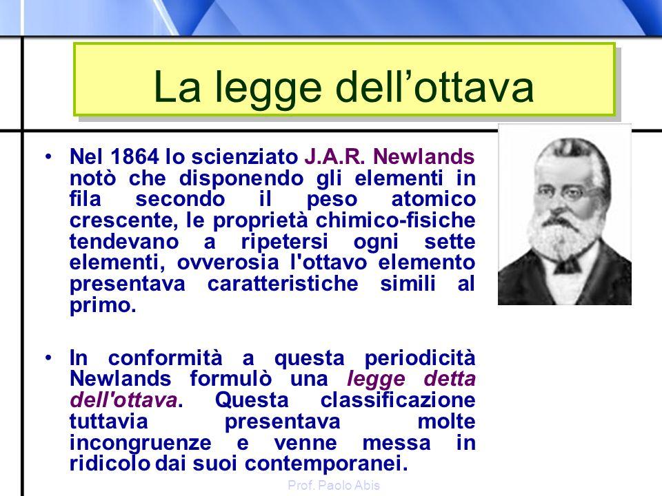 Prof. Paolo Abis La legge dellottava Nel 1864 lo scienziato J.A.R. Newlands notò che disponendo gli elementi in fila secondo il peso atomico crescente
