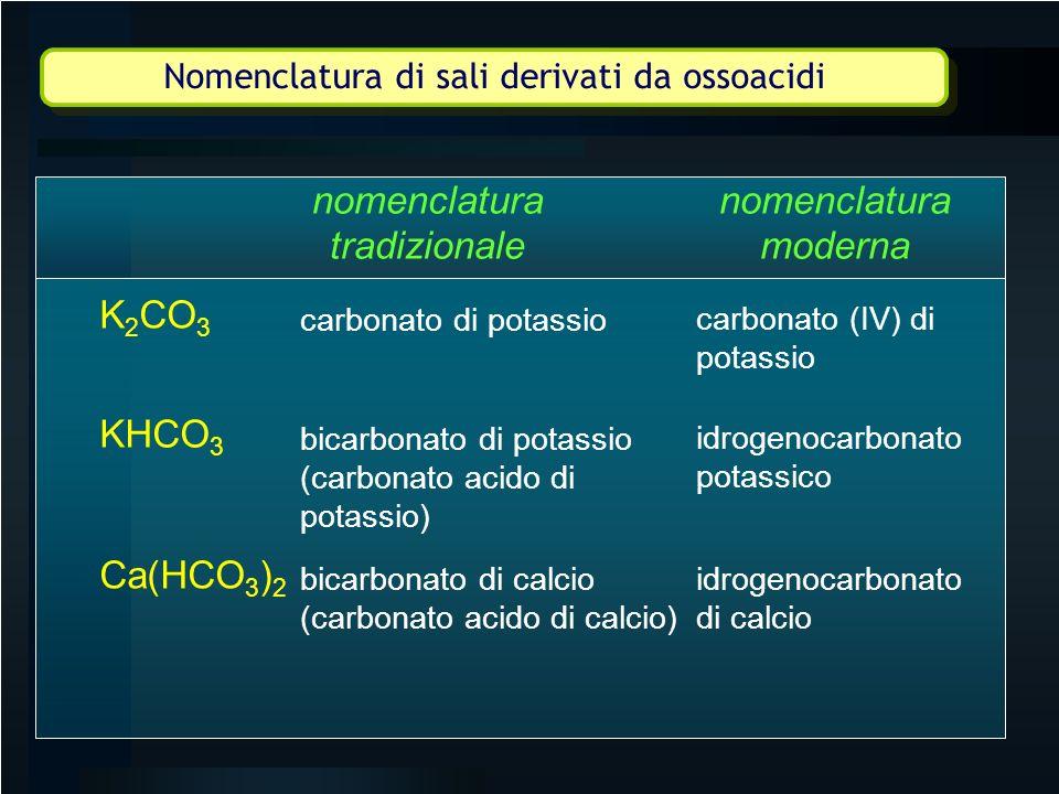 Nomenclatura di sali derivati da ossoacidi bicarbonato di calcio (carbonato acido di calcio) idrogenocarbonato potassico nomenclatura tradizionale nom