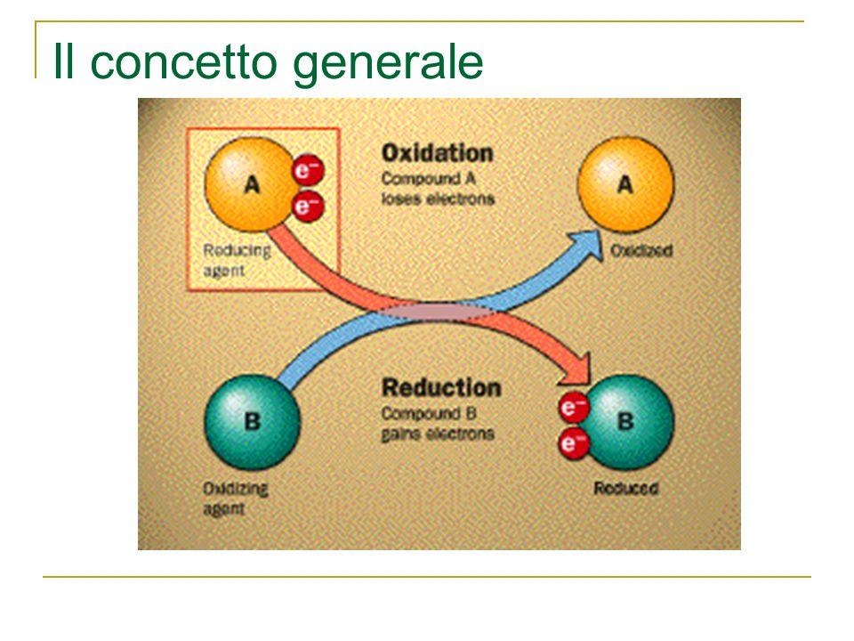 Il concetto generale Il concetto di ossido-riduzione oggi viene esteso a qualsiasi sostanza o elemento chimico che acquista o perde elettroni (indipen