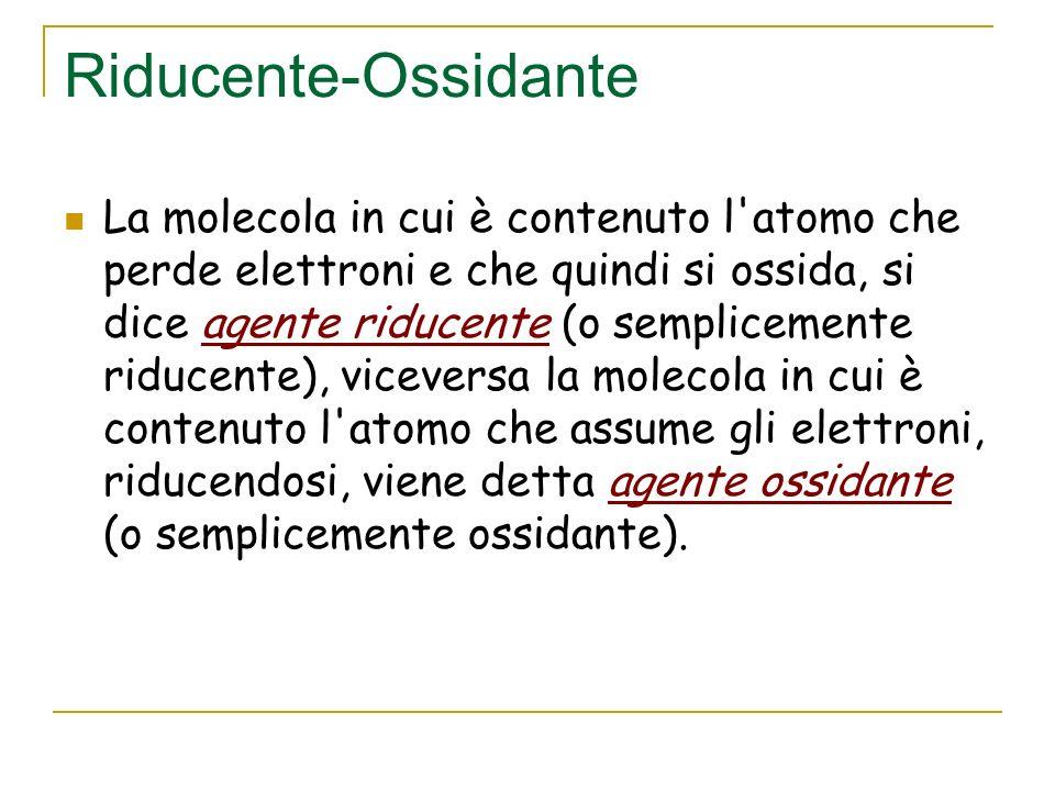 Reazioni redox Se analizziamo le reazioni redox notiamo che nella ossidazione vi è sempre una molecola in cui un elemento che la costituisce perde uno