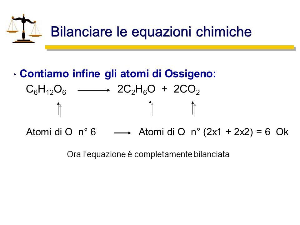 Bilanciare le equazioni chimiche Contiamo infine gli atomi di Ossigeno: C 6 H 12 O 6 2C 2 H 6 O + 2CO 2 Atomi di O n° 6 Atomi di O n° (2x1 + 2x2) = 6