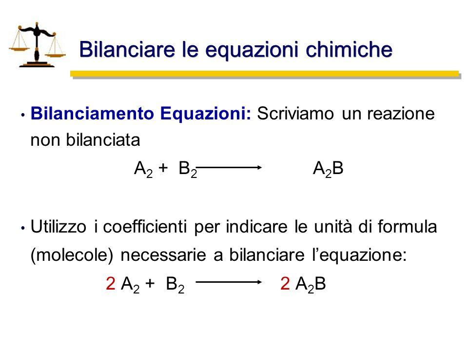 Bilanciare le equazioni chimiche Bilanciamento Equazioni: Scriviamo un reazione non bilanciata A 2 + B 2 A 2 B Utilizzo i coefficienti per indicare le