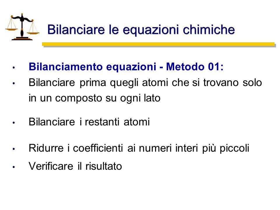 Bilanciare le equazioni chimiche Bilanciamento equazioni - Metodo 02: Identificare il composto più complesso Bilanciare questo composto portando ad 1 il suo coefficiente Bilanciare i rimanenti composti usando frazioni Moltiplicare le frazini per ottenere interi