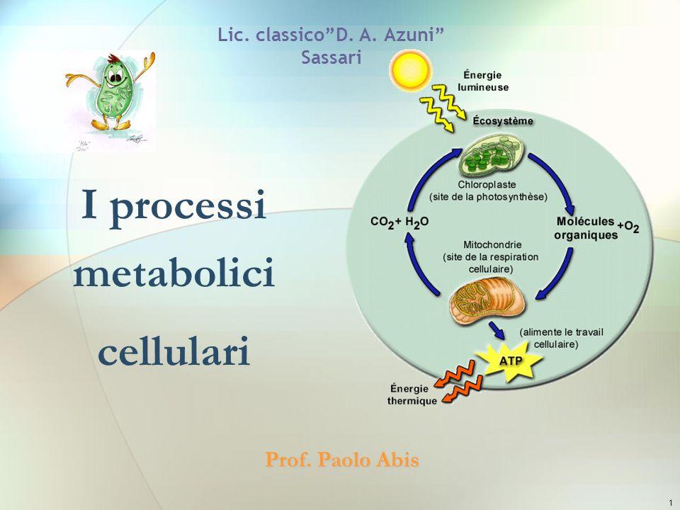 1 Lic. classicoD. A. Azuni Sassari I processi metabolici cellulari Prof. Paolo Abis