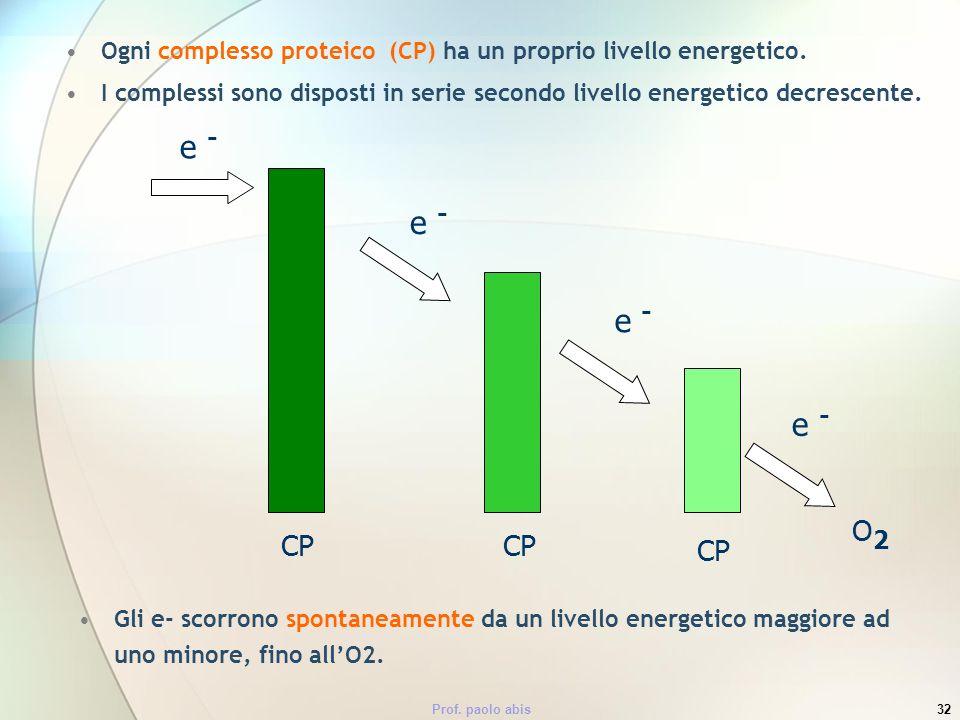 Prof. paolo abis32 Ogni complesso proteico (CP) ha un proprio livello energetico. I complessi sono disposti in serie secondo livello energetico decres