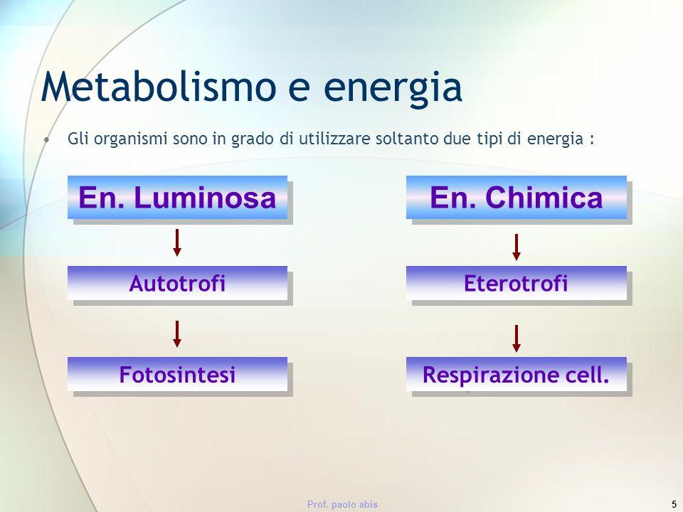 Prof. paolo abis5 Metabolismo e energia Gli organismi sono in grado di utilizzare soltanto due tipi di energia : En. Luminosa En. Chimica Autotrofi Et