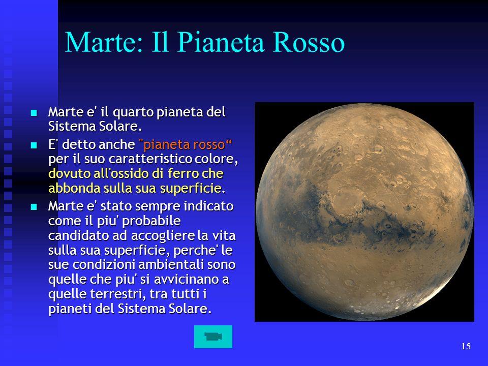 15 Marte: Il Pianeta Rosso Marte e' il quarto pianeta del Sistema Solare. Marte e' il quarto pianeta del Sistema Solare. E' detto anche