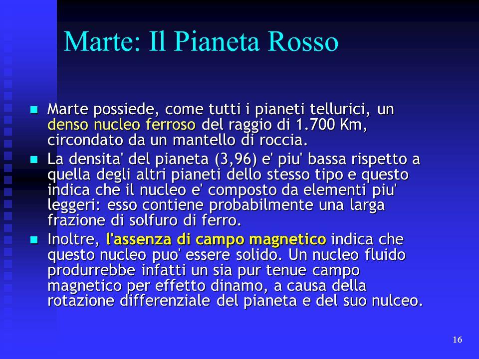 16 Marte: Il Pianeta Rosso Marte possiede, come tutti i pianeti tellurici, un denso nucleo ferroso del raggio di 1.700 Km, circondato da un mantello d