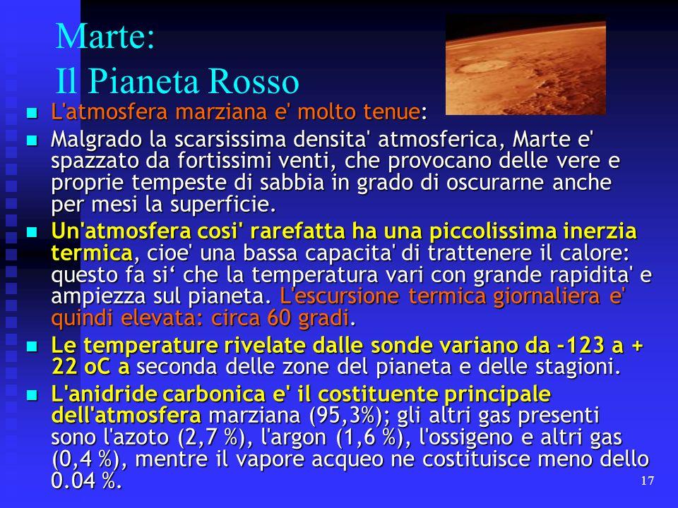 17 Marte: Il Pianeta Rosso L'atmosfera marziana e' molto tenue: L'atmosfera marziana e' molto tenue: Malgrado la scarsissima densita' atmosferica, Mar