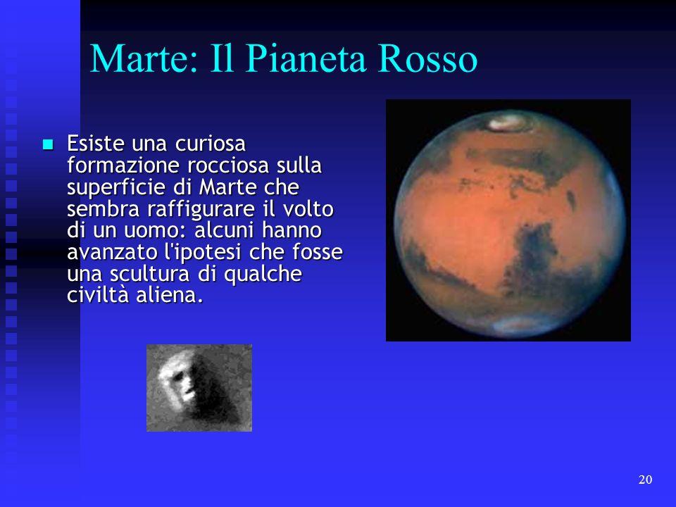 20 Marte: Il Pianeta Rosso Esiste una curiosa formazione rocciosa sulla superficie di Marte che sembra raffigurare il volto di un uomo: alcuni hanno a
