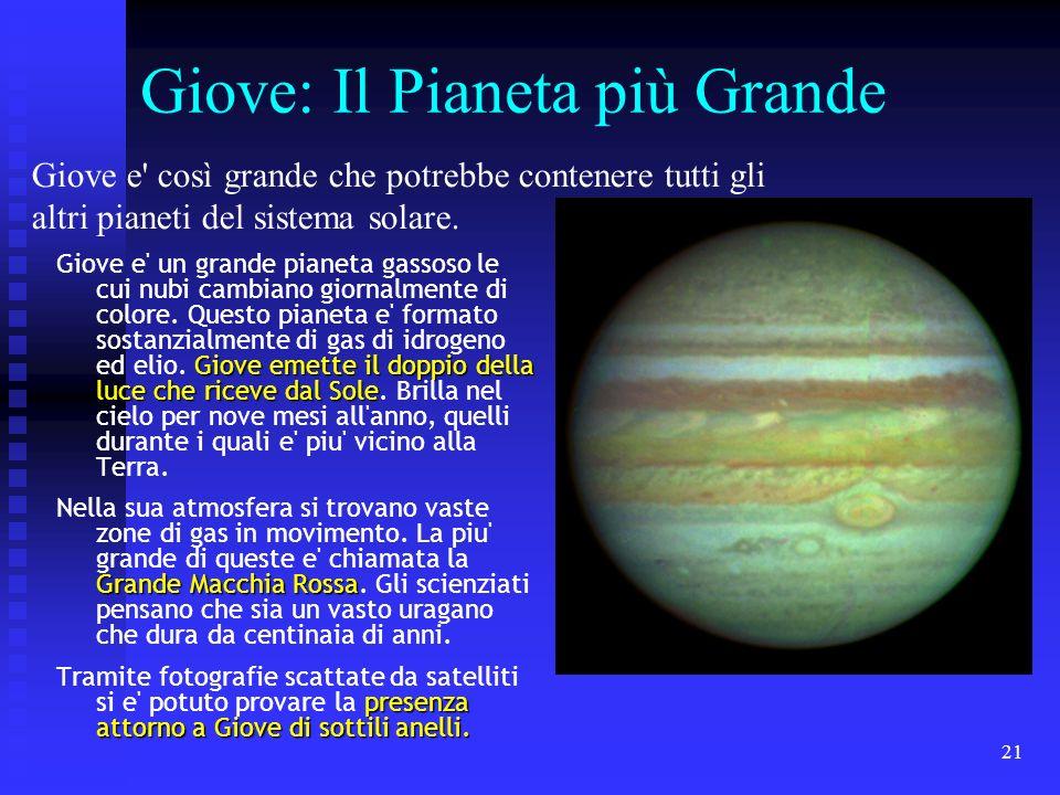 21 Giove: Il Pianeta più Grande Giove emette il doppio della luce che riceve dal Sole Giove e' un grande pianeta gassoso le cui nubi cambiano giornalm