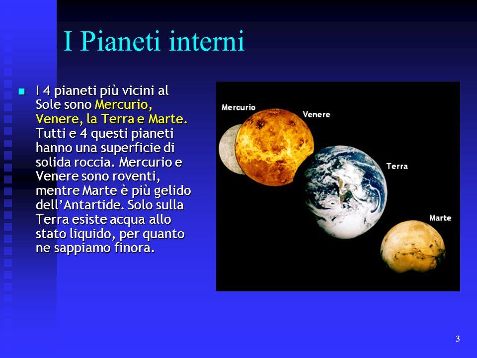 3 I Pianeti interni I 4 pianeti più vicini al Sole sono Mercurio, Venere, la Terra e Marte. Tutti e 4 questi pianeti hanno una superficie di solida ro