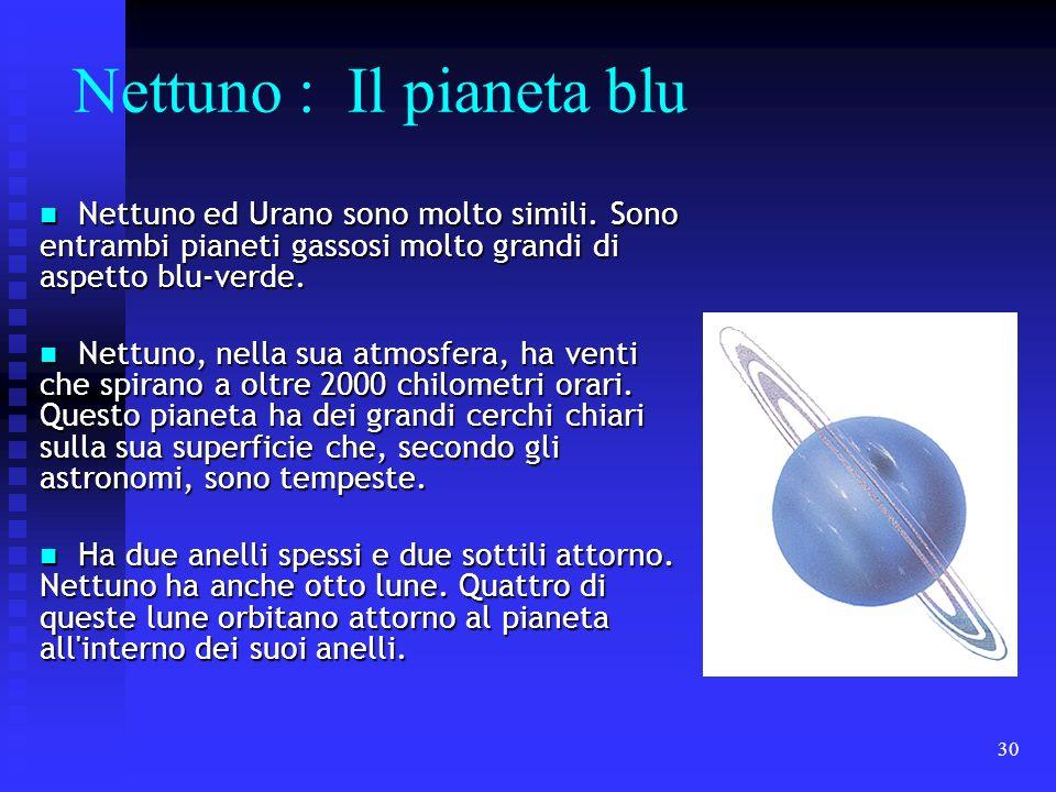 30 Nettuno : Il pianeta blu Nettuno ed Urano sono molto simili. Sono entrambi pianeti gassosi molto grandi di aspetto blu-verde. Nettuno ed Urano sono