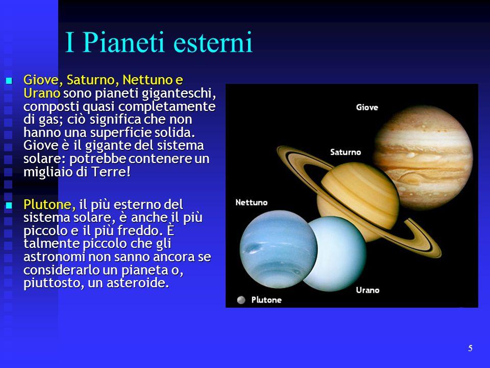 5 I Pianeti esterni Giove, Saturno, Nettuno e Urano sono pianeti giganteschi, composti quasi completamente di gas; ciò significa che non hanno una sup
