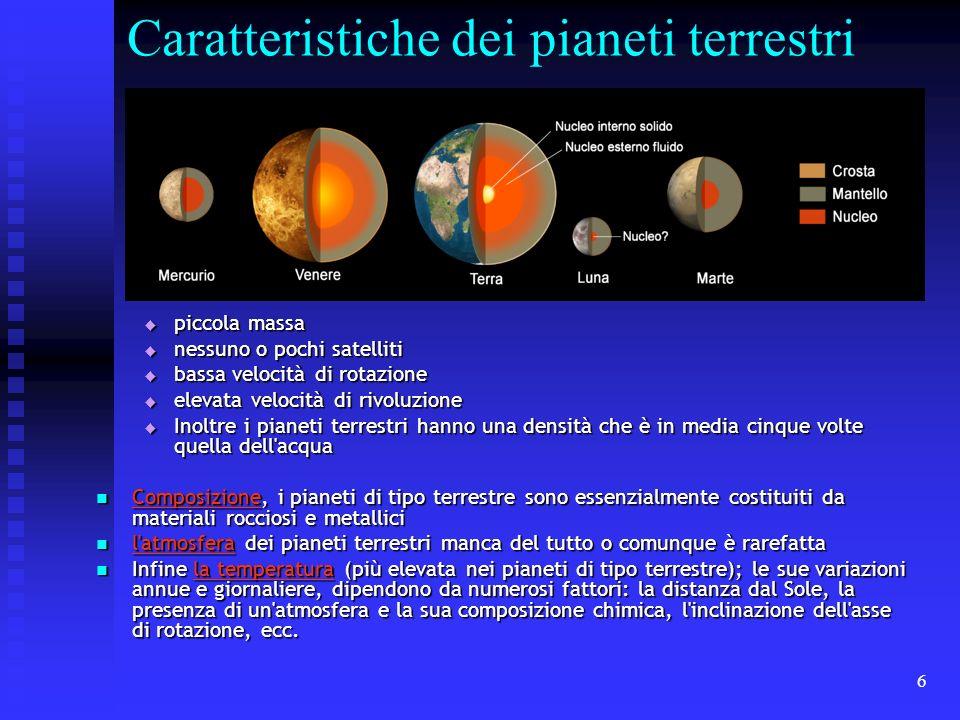 6 Caratteristiche dei pianeti terrestri piccola massa piccola massa nessuno o pochi satelliti nessuno o pochi satelliti bassa velocità di rotazione ba