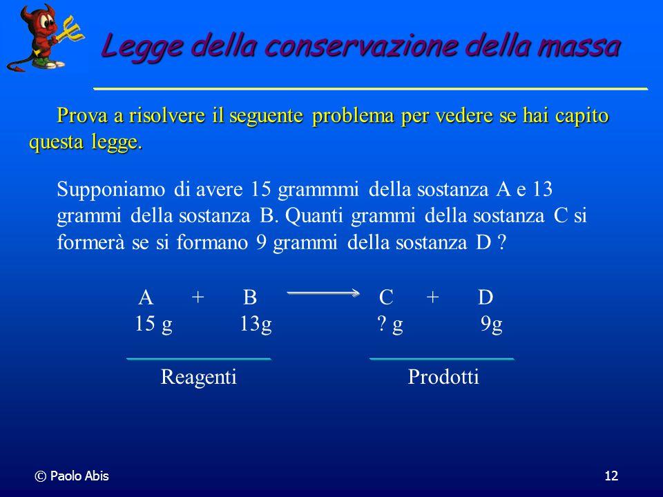 © Paolo Abis12 Prova a risolvere il seguente problema per vedere se hai capito questa legge. Prova a risolvere il seguente problema per vedere se hai