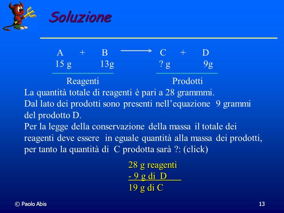 © Paolo Abis13 La quantità totale di reagenti è pari a 28 grammmi. Dal lato dei prodotti sono presenti nellequazione 9 grammi del prodotto D. Per la l