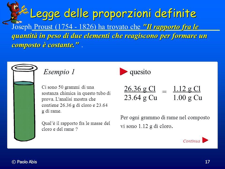 © Paolo Abis17 Legge delle proporzioni definite