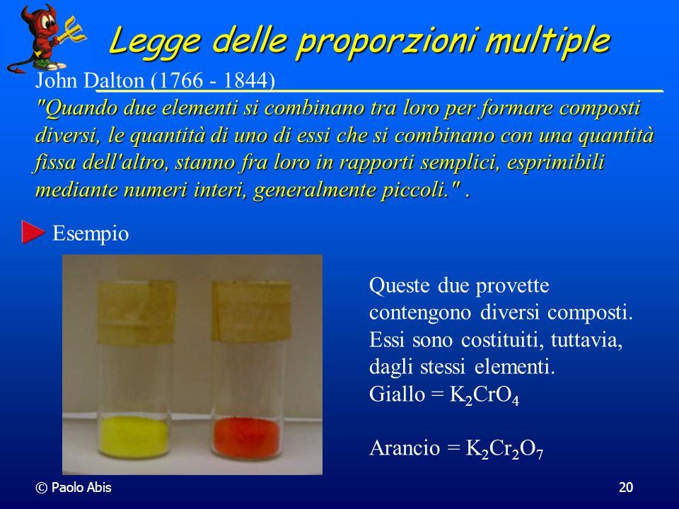 © Paolo Abis20 Legge delle proporzioni multiple John Dalton (1766 - 1844)