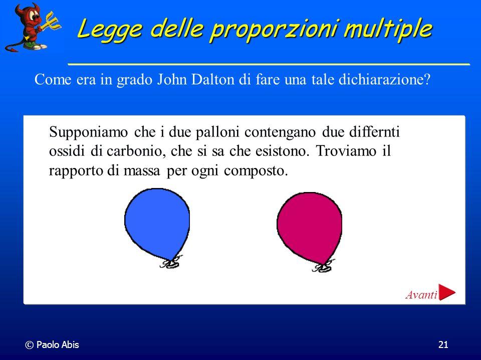 © Paolo Abis21 Come era in grado John Dalton di fare una tale dichiarazione? Supponiamo che i due palloni contengano due differnti ossidi di carbonio,