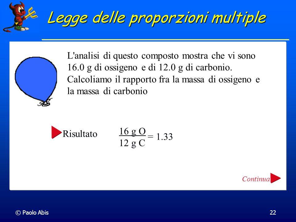 © Paolo Abis22 L'analisi di questo composto mostra che vi sono 16.0 g di ossigeno e di 12.0 g di carbonio. Calcoliamo il rapporto fra la massa di ossi
