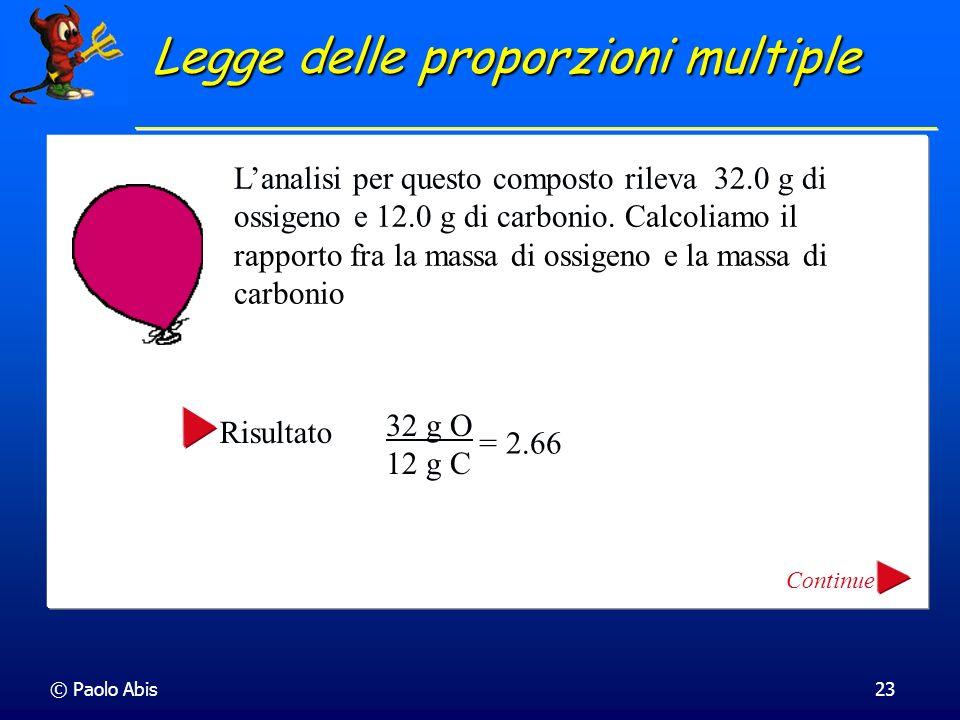 © Paolo Abis23 Lanalisi per questo composto rileva 32.0 g di ossigeno e 12.0 g di carbonio. Calcoliamo il rapporto fra la massa di ossigeno e la massa