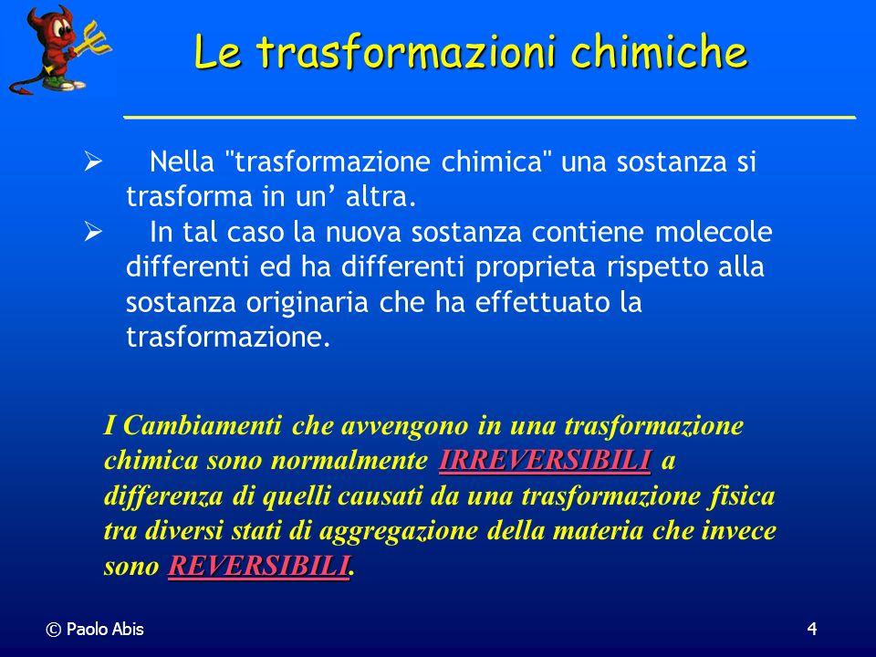 © Paolo Abis4 Le trasformazioni chimiche Nella