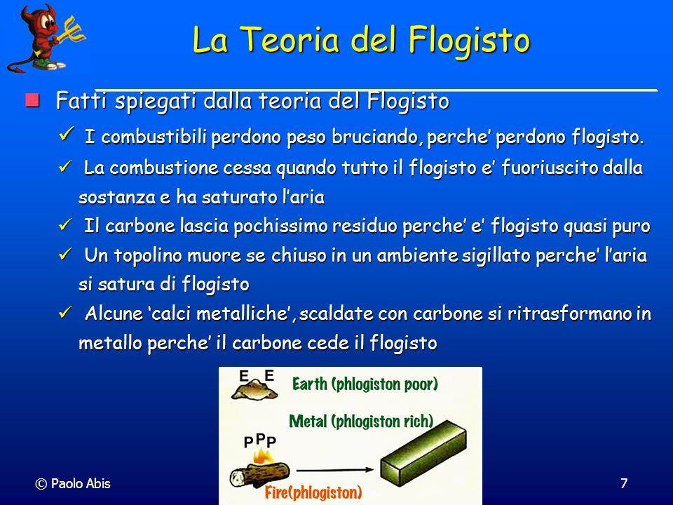 © Paolo Abis7 La Teoria del Flogisto Fatti spiegati dalla teoria del Flogisto Fatti spiegati dalla teoria del Flogisto I combustibili perdono peso bru