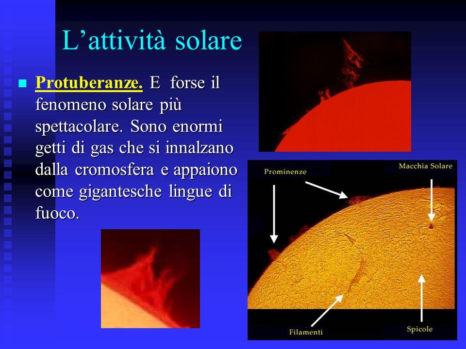 17 Lattività solare E forse il fenomeno solare più spettacolare. Sono enormi getti di gas che si innalzano dalla cromosfera e appaiono come gigantesch