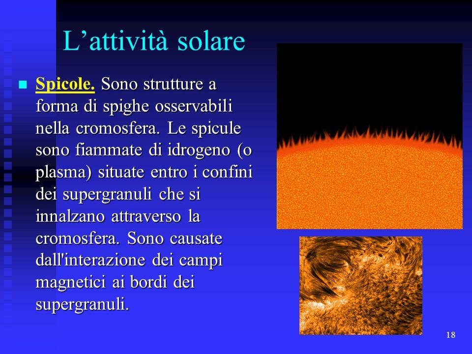 18 Lattività solare Sono strutture a forma di spighe osservabili nella cromosfera. Le spicule sono fiammate di idrogeno (o plasma) situate entro i con