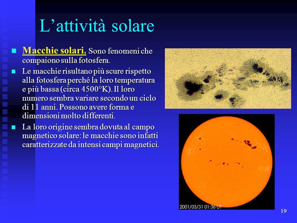 19 Lattività solare Sono fenomeni che compaiono sulla fotosfera. Macchie solari. Sono fenomeni che compaiono sulla fotosfera. Le macchie risultano più