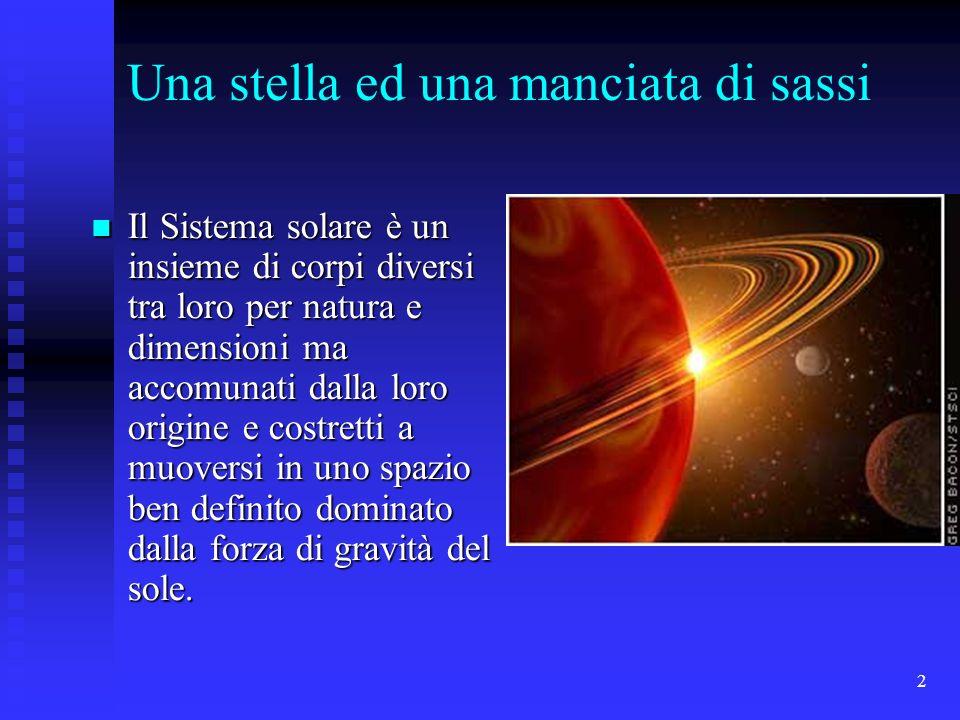 2 Una stella ed una manciata di sassi Il Sistema solare è un insieme di corpi diversi tra loro per natura e dimensioni ma accomunati dalla loro origin