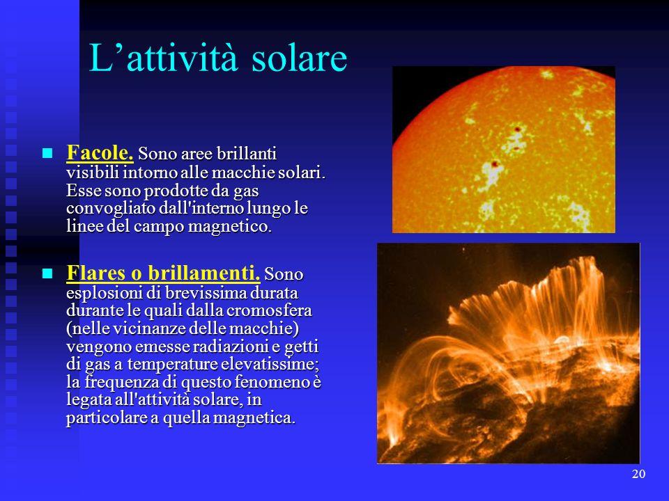 20 Lattività solare Sono aree brillanti visibili intorno alle macchie solari. Esse sono prodotte da gas convogliato dall'interno lungo le linee del ca