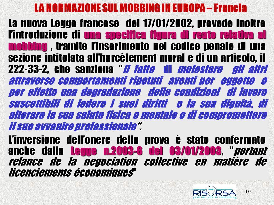 10 LA NORMAZIONE SUL MOBBING IN EUROPA – Francia La nuova Legge francese del 17/01/2002, prevede inoltre lintroduzione di una specifica figura di reat