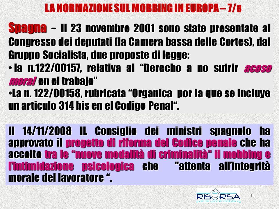 11 LA NORMAZIONE SUL MOBBING IN EUROPA – 7/ 8 Spagna – Il 23 novembre 2001 sono state presentate al Congresso dei deputati (la Camera bassa delle Cortes), dal Gruppo Socialista, due proposte di legge: la n.122/00157, relativa al Derecho a no sufrir acoso moral en el trabajo la n.122/00157, relativa al Derecho a no sufrir acoso moral en el trabajo La n.